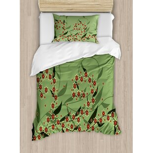 Retro Blooming Graphic Spring Flowers on Curvy Branches Botanical Garden Theme Duvet Set by East Urban Home