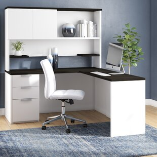 Kadian Modern Reversible L-Shape Corner Desk With Hutch by Comm Office Spacial Price