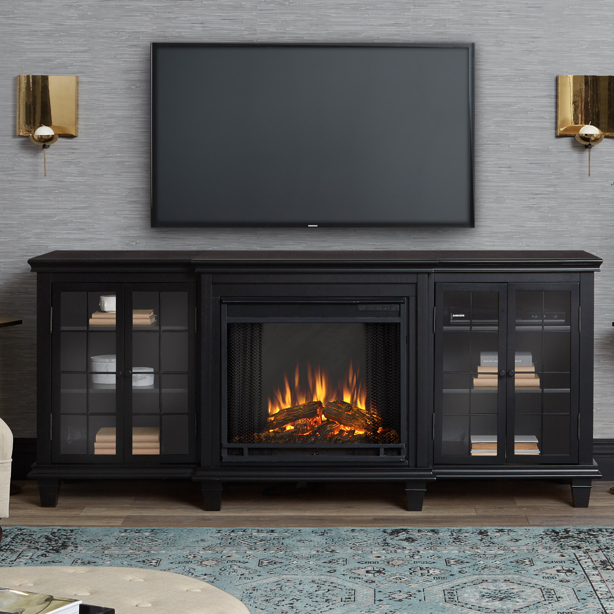 fireplaces fireplace electric mount hearth wall