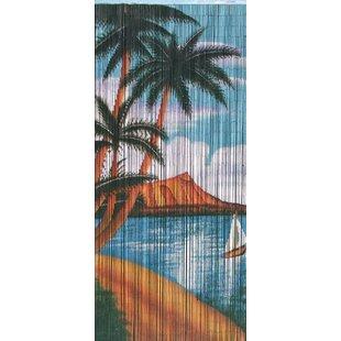 Porter Natural Bamboo Graphic Print & Text Semi-Sheer Single Curtain Panel byBay Isle Home