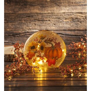 Plow & Hearth Lighted Sunflowers and Pumpkin Glass Decor Night Light