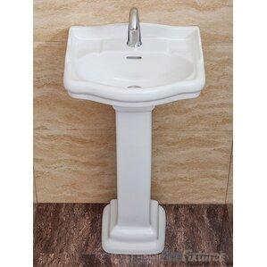 Roosevelt 18 Pedestal Bathroom Sink With Overflow