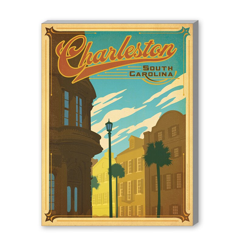 East Urban Home Charleston Vintage Advertisement On Gallery Wrapped Canvas Wayfair