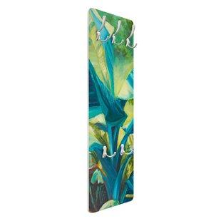 Banana Leaf With Turquoise II Wall Mounted Coat Rack By Symple Stuff