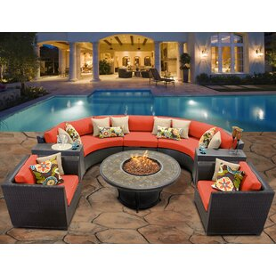 TK Classics Barbados 8 Piece Rattan Sectional Seating Group Set with Cushions