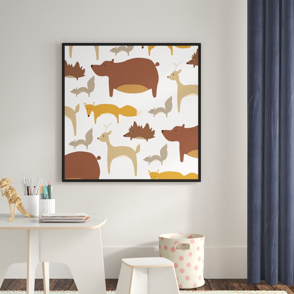 woodland animal home decor zoomie kids  collaged woodland animals  framed print on canvas  zoomie kids  collaged woodland animals