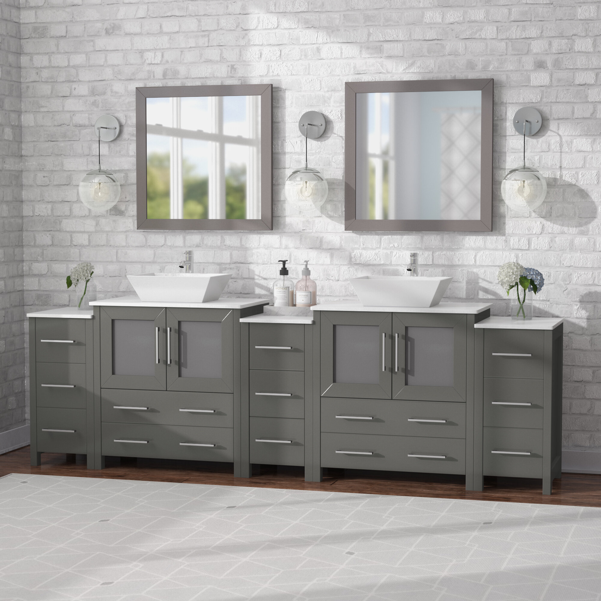 Wade Logan Karson 96 Double Bathroom Vanity Set With Mirror Reviews Wayfair