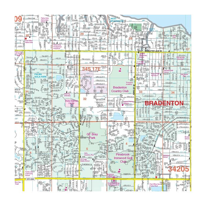 Laminated Ra-denton and Manatee County FL Wall Map, 52