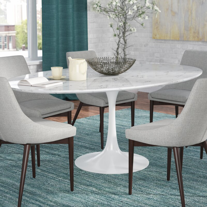 Charmant Kylee Artificial Marble Oval Shaped Dining Table