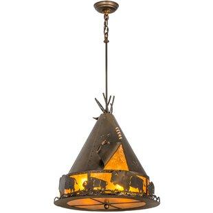 Teepee with Buffalo 4-Light Cone Pendant by Meyda Tiffany