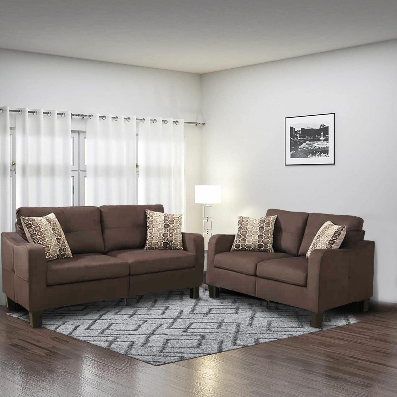 Picture of: Red Barrel Studio Polyfiber 2 Pieces Sofa Set With Accent Pillows Dark Grey Wayfair Ca