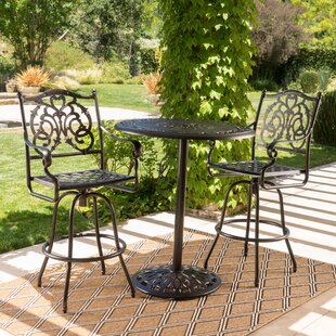 Astoria Grand Ainsworth Outdoor Cast Aluminum Bar Set