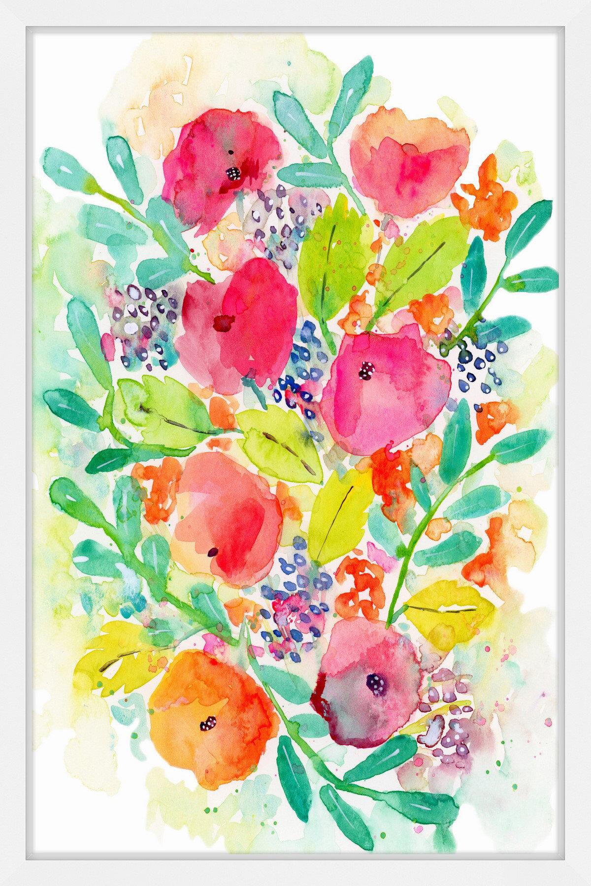 Latitude Run Wildflower Bouquet Ii Framed Watercolor Painting Print Wayfair