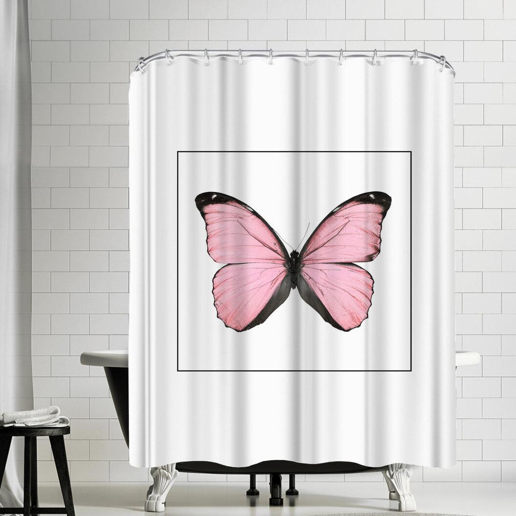 East Urban Home Nauda Butterfly Shower Curtain Wayfair