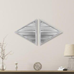 2 Piece Linear Diamond Metal Wall Décor Set