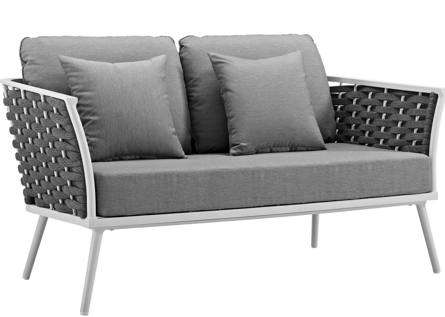 Ian Outdoor Loveseat With Cushions Reviews Allmodern