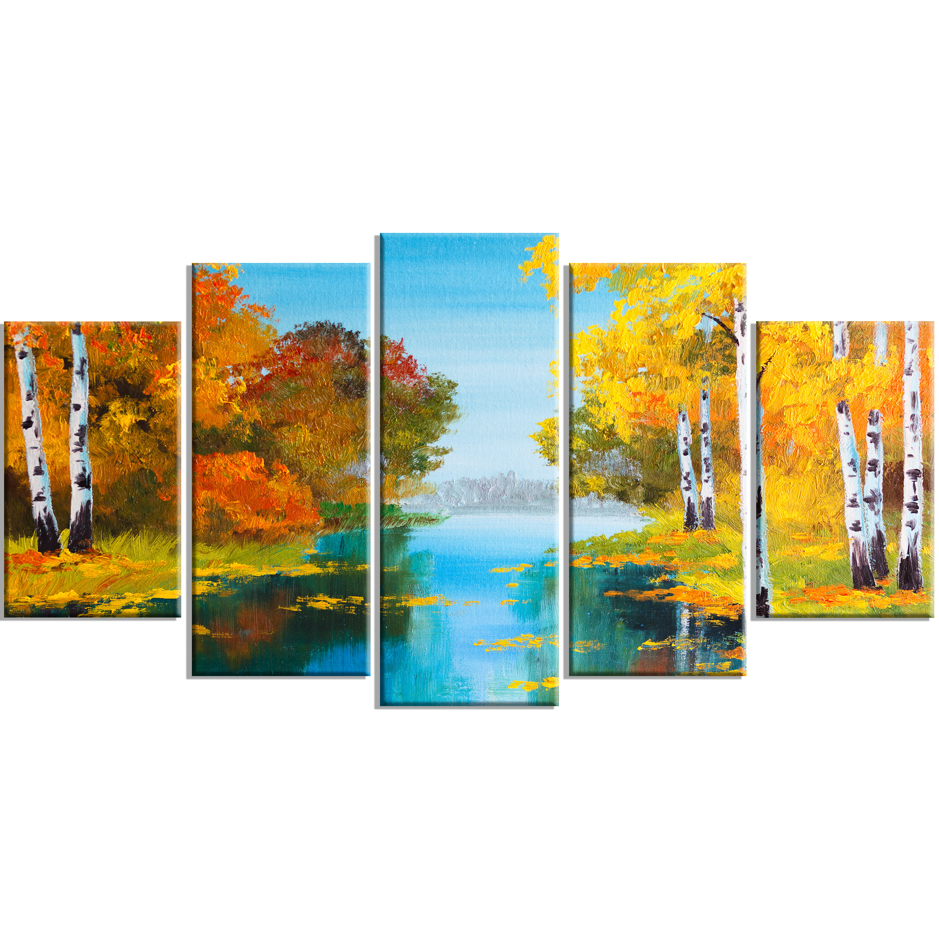 Designart Birch Forest Near The River 5 Piece Painting Print On Wrapped Canvas Set Wayfair