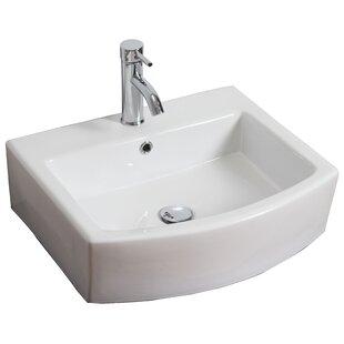 Find Ceramic 22 Wall-Mount Bathroom Sink with Overflow ByRoyal Purple Bath Kitchen