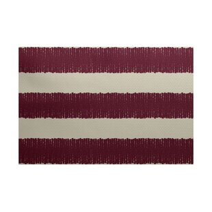 Leann Twisted Stripe Print Cranberry Area Indoor/Outdoor Area Rug