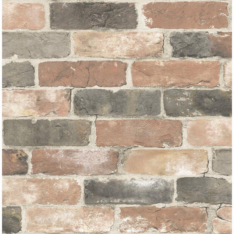 "Reclaimed Rustic 2' x 20.5"" Brick Wallpaper"