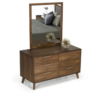 Hali 6 Drawer Double Dresser with Mirror