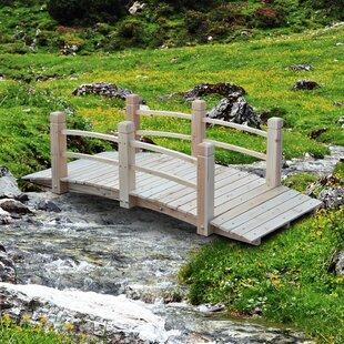 Wooden Rustic Arched Backyard Garden Bridge