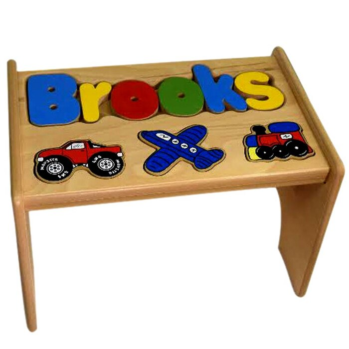 Awesome Tinsley Child Transportation Themed Wooden Puzzle Personalized Step Stool Gmtry Best Dining Table And Chair Ideas Images Gmtryco