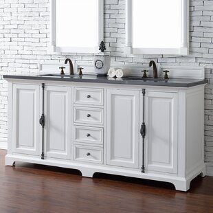 Ogallala Traditional 72 Double Cottage White Wood Base Bathroom Vanity Set by Greyleigh