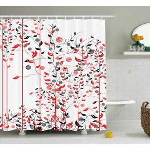 Suzanne Romantic Abstract Flowers Ivy Swirls Image With Leaves Single Shower Curtain