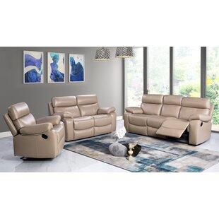 Red Barrel Studio Mellor 3 Piece Leather Living Room Set