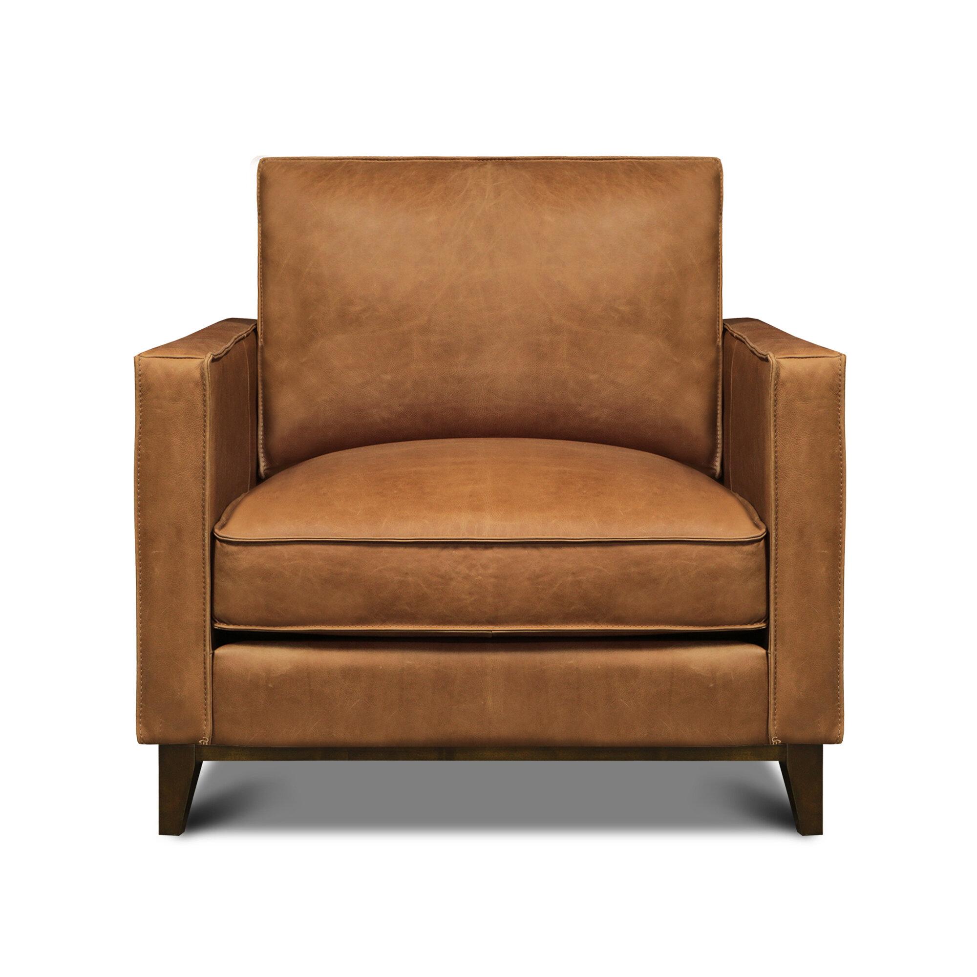 Ebern Designs Akansha 33 W Top Grain Leather Armchair Wayfair