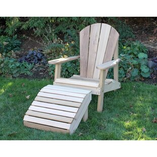Marks Adirondack Chair with Ottoman by Rosecliff Heights