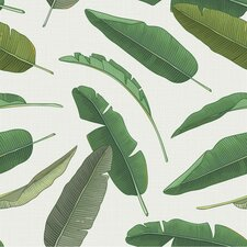 "Banana Leaf 8' x 20"" Botanical Wallpaper Roll"