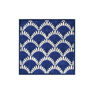 Affordable Alex Hand-Tufted Navy/White Area Rug By Highland Dunes