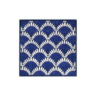 Price Check Alex Hand-Tufted Navy/White Area Rug ByHighland Dunes