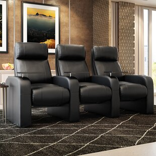Latitude Run Modern Manual Rocker Recline Home Theater Sofa (Row of 3)