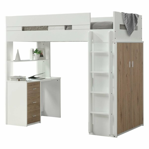 Mack Milo Adne Wooden Twin Loft Bed With Drawers And Desk Shelf