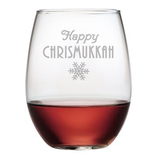 happy chrismukkah stemless wine glass set of 4
