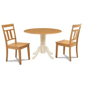 Sirius 3 Piece Drop Leaf Solid Wood Dining Set Millwood Pines