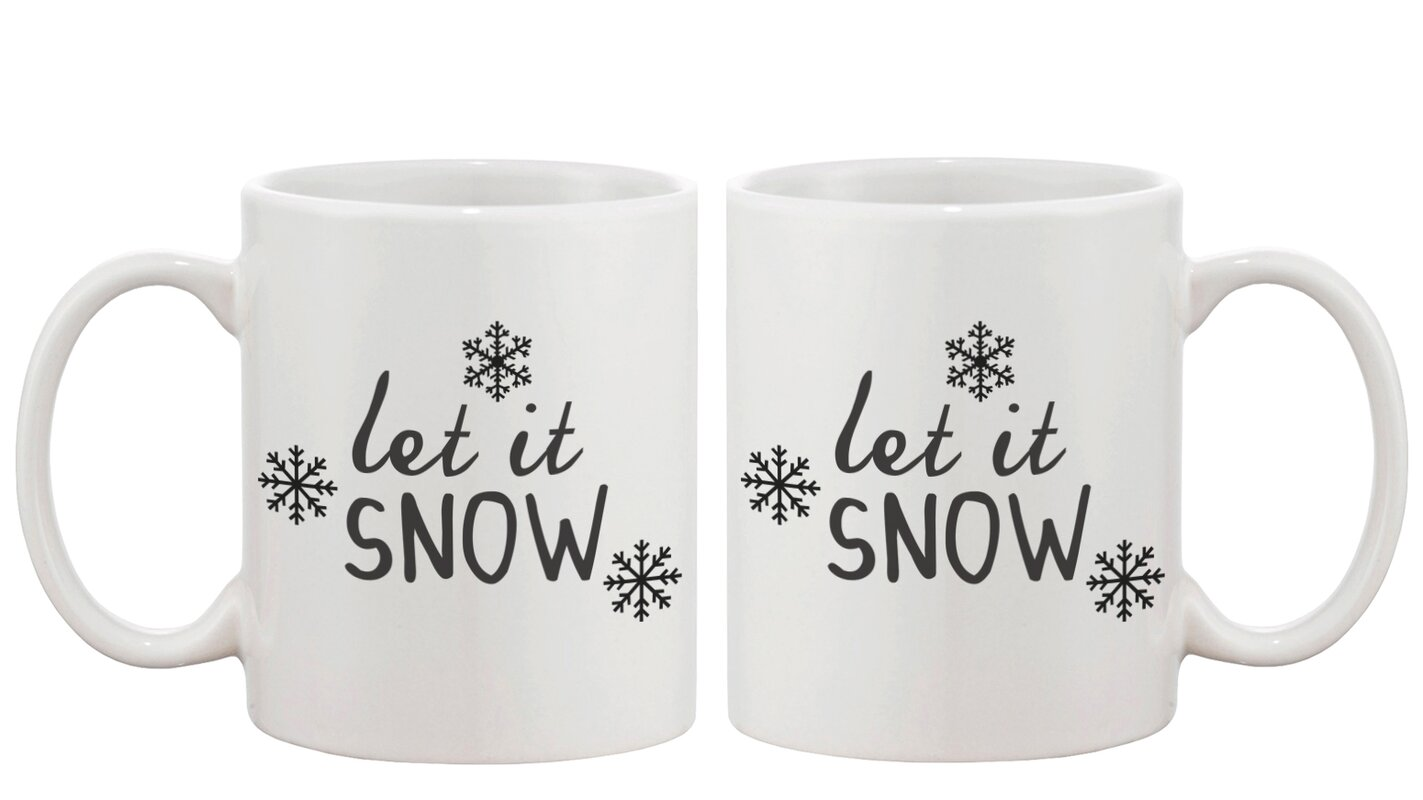 Let it Snow Snowflake Winter Coffee Mug