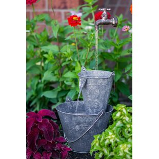 Hi-Line Gift Ltd. Metal Pails Tap Fountain with LED Light