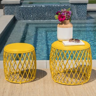 Purchase Biehl Outdoor Iron Side Table (Set of 2) ByIvy Bronx
