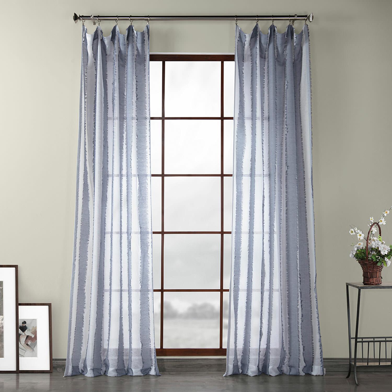 Highland Dunes Kuhns Polyester Striped Sheer Rod Pocket Single Curtain Panel Reviews Wayfair
