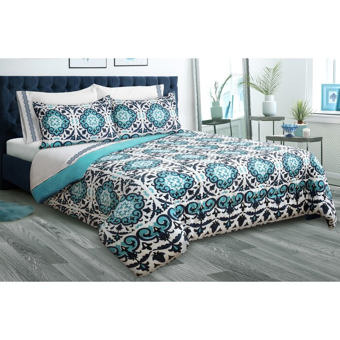 Everyday Navy and Burgundy Reversible King Comforter Set Machine washable