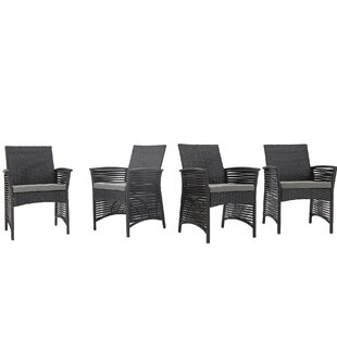 Ivy Bronx Riddleville Backyard Pool Rattan Wicker Patio Chair with Cushions (Set of 4)