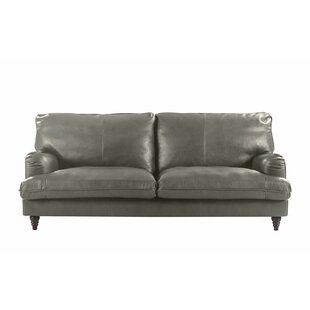 Orren Ellis Auberto Classic Victorian Top Grain Leather Sofa