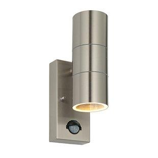 Brushed steel wall lights wayfair palin 2 light flush wall light in brushed stainless steel aloadofball Gallery