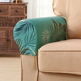 Ultra Soft Armrest Leaves Spandex Cover (Set Of 2) By Symple Stuff