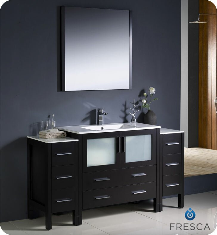 Torino 60 Single Modern Bathroom Vanity Set With Mirror