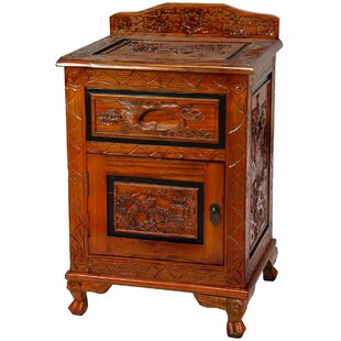 Carved End Table with Storage by Oriental Furniture